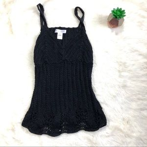 White House Black Market Black Crochet Tank Top